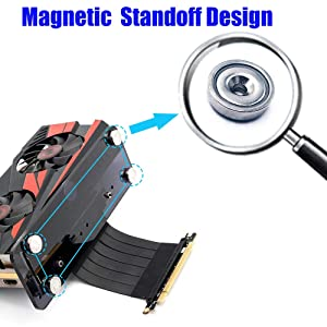 HLT PCI- E 3.0 16X Graphics Card Vertical Kickstand/Base with high Speed PCI-E Extension Cable and Magnetic Standoff for DIY ATX case