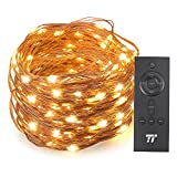 TaoTronics 66ft 200 LED String Lights RF Remote Control, Super Soft Copper Wire Waterproof Outdoor & Indoor Decorative Lights Bedroom, Patio, Garden, Gate, Yard More(Warm White)