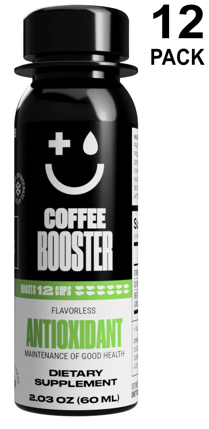 Maintenance of Good Health! Coffee Booster ANTIOXIDANT Liquid Supplement. 20x The antioxidants of Green Tea, 2 oz (12 Pack)