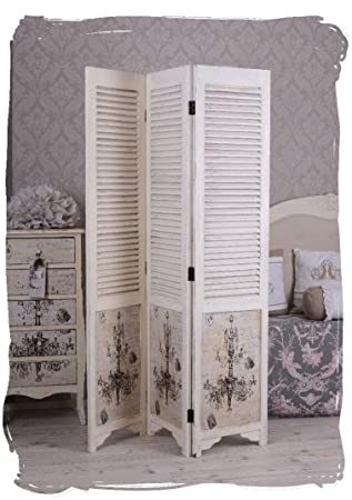 Paravent Shabby Chic Raumteiler Weiss Spanische Wand Vintage Palazzo ...