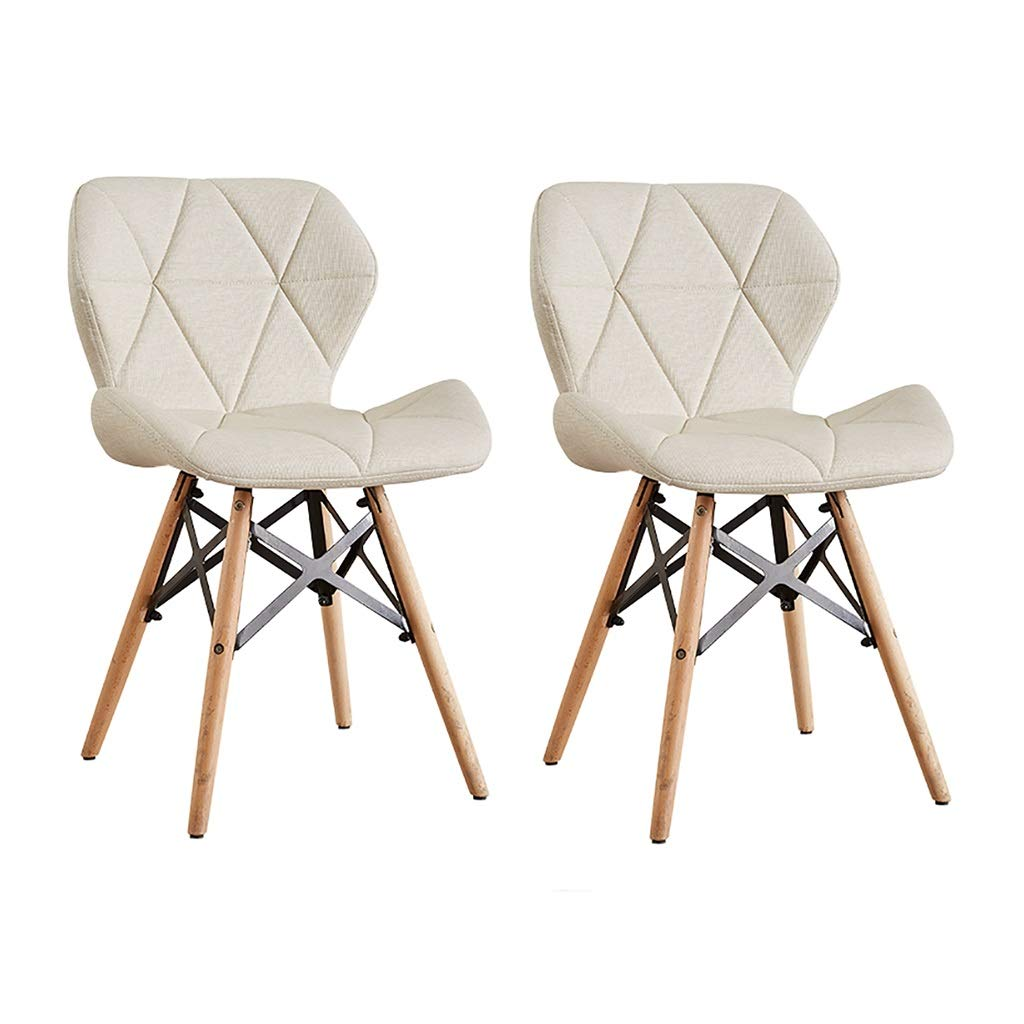 Milk white×2 LXP Dining Chair Dining Chair, Kitchen Restaurant Breakfast Bar Chair, Cloth Leather Diamond Shaped Three-Dimensional Support Home Solid Wood Lounge Chair 45cm 4 colors Hotel Cafe Chair