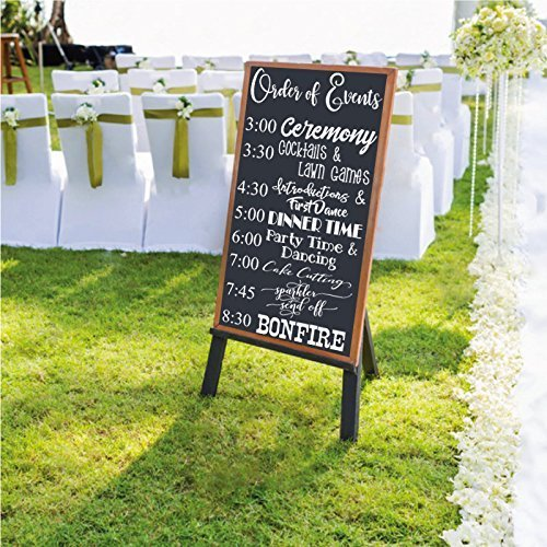 Wedding CUSTOMIZABLE Welcome Order of Events Decal for Sign- CUSTOM DECAL ONLY SIGN BOARD NOT INCLUDED- Personalized Wall Decal Weddings baby shower Signs Chalkboard Mirrors rustic wooden sign