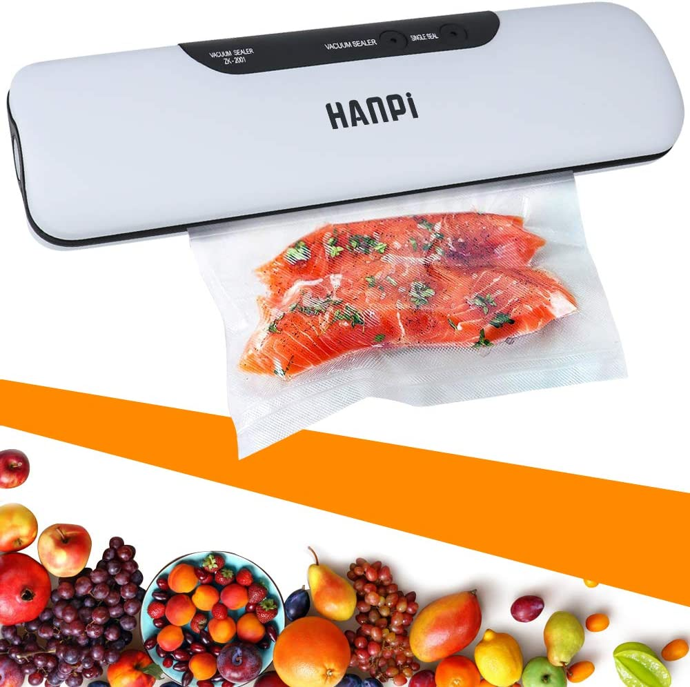 Vacuum Sealer Machine Two Buttons for Quick Vacuum and Sealing,Practical and Convenient Automatic Food Saver Easy to Clean/Dry & Moist Food Use (Free 10 Food Storage Bags)