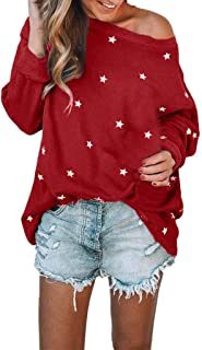Subfamily Femme Top Ample à col Rond T-Shirt à Manches Longues Tops Impression Motif d'étoile Blouses Tops Sweat Pull Tops Casual Haut Sweatshirt Sweater