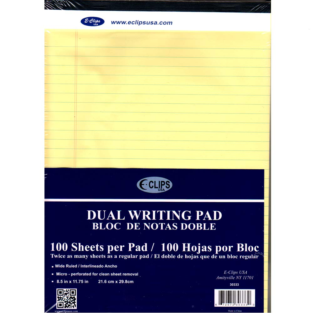 Legal Pad, 8.5'' x 11'', 100 Sheets, Canary, Case Pack of 40, Ideal for Bulk Buyers