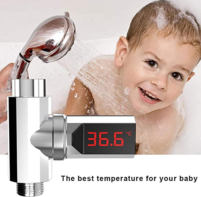 LED Digital Shower Temperature Display Water Thermometer Monitor Self-Powered