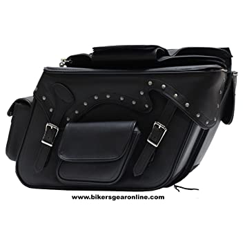 da08102ccd Two Piece Motorcycle Motorbike 2 Strap Studded Zip Off PVC SADDLEBAG Black  New