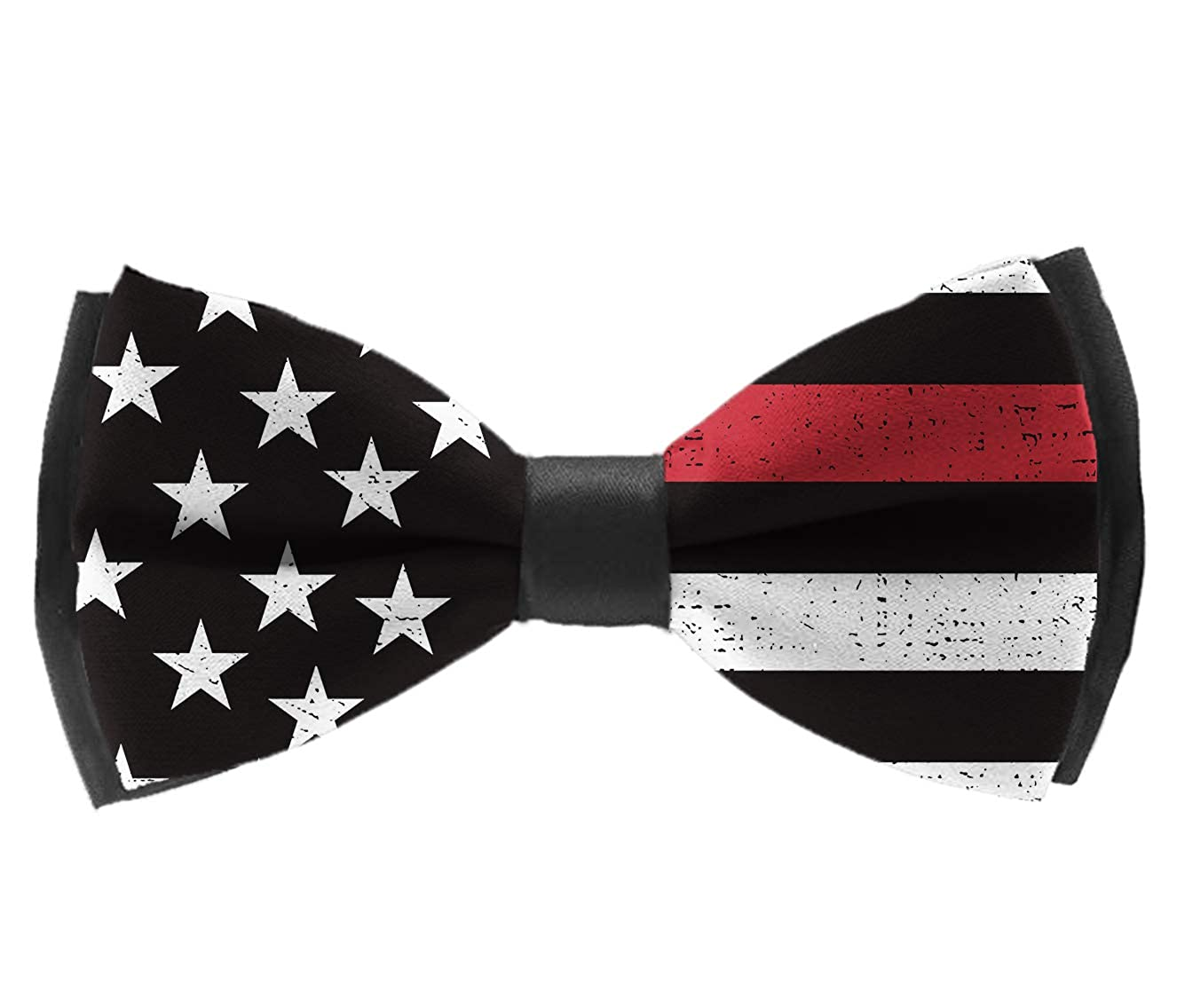 Pre Tied Bowties Firefighter Red Line Flag Tuxedo Solid Formal Bow Tie