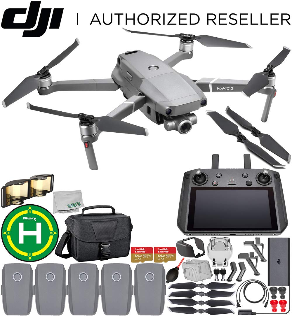 DJI Mavic 2 Zoom Drone Quadcopter with 24-48mm Optical Zoom Camera with Smart Controller Must-Have 5-Battery Bundle 2