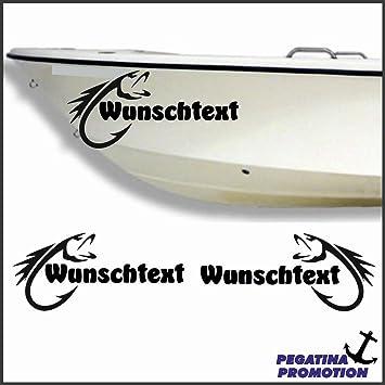 2 x Fisch + Bootsname nach Wunsch Aufkleber aus Hochleistungsfolie ...