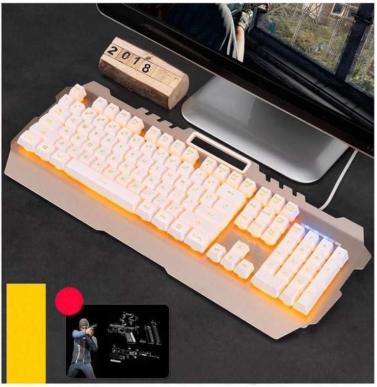 Yougou01 Keyboard White Yellow Light, 46.419.22.3cm Exquisite Color : Black-Yellow Cable Esport Ergonomic Design Mechanical Feel Game Desktop Laptop Keyboard