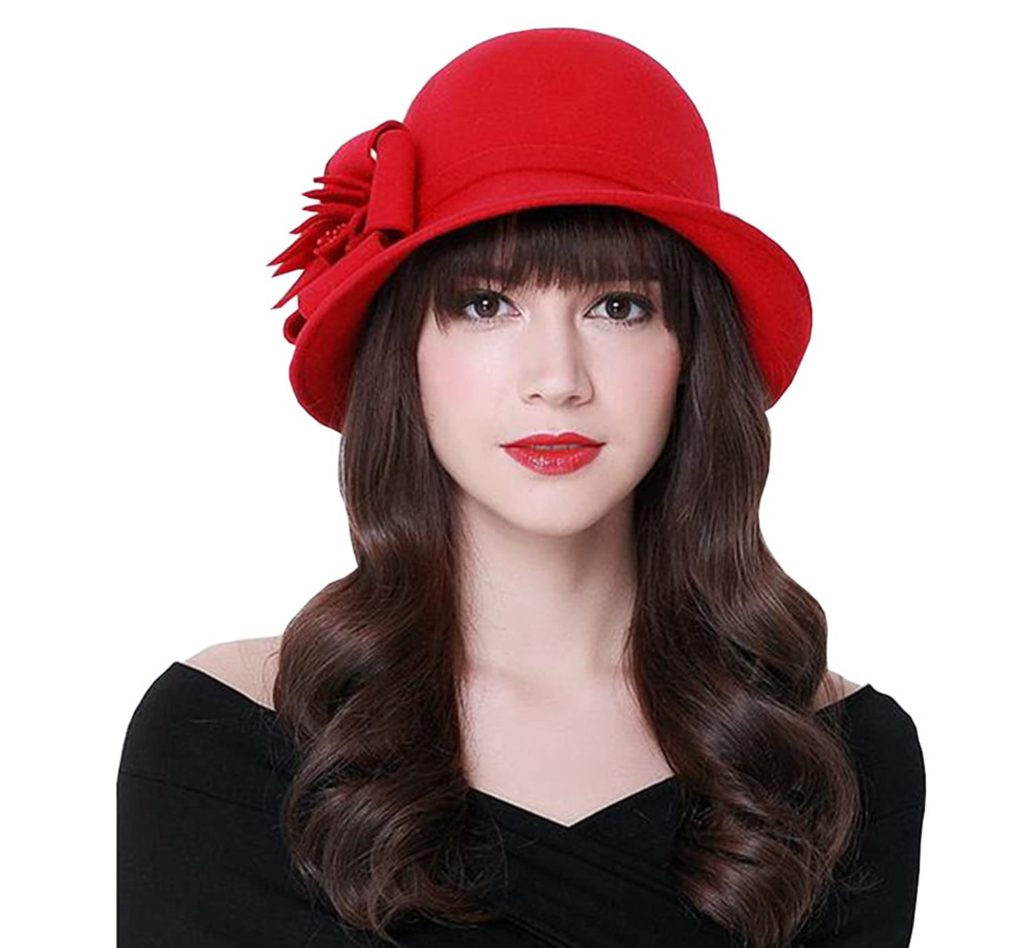 TBNA Women's Vintage Red Wool Cloche Bucket Winter Hat with Flower