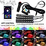 neon lights inside cars - Underdash Lighting Kit, Mihaz Led Car Interior light in Car 4pcs Multi Color with Sound Active Bluetooth Atmosphere Lights 48 Leds Footwell Light Inside Car by APP Remote Control IOS Android