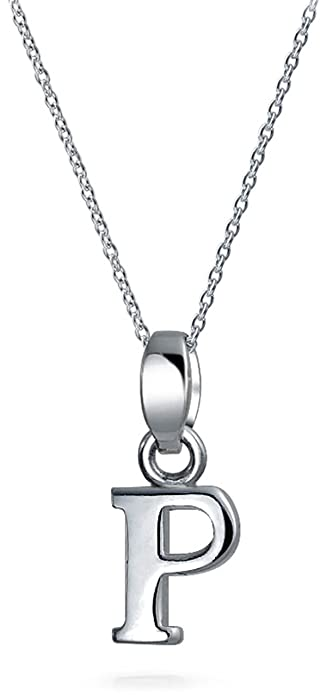block letter p initial pendant sterling silver necklace 18 inches