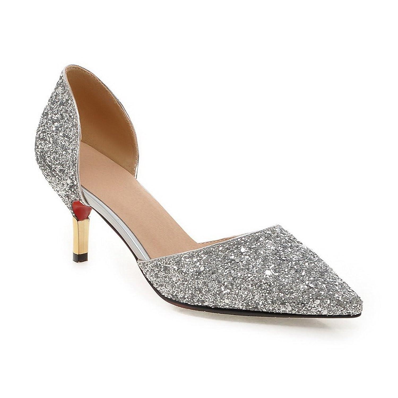 AdeeSu Womens Sequin No-Closure Solid Comfort Sequin Pumps Shoes SDC03589