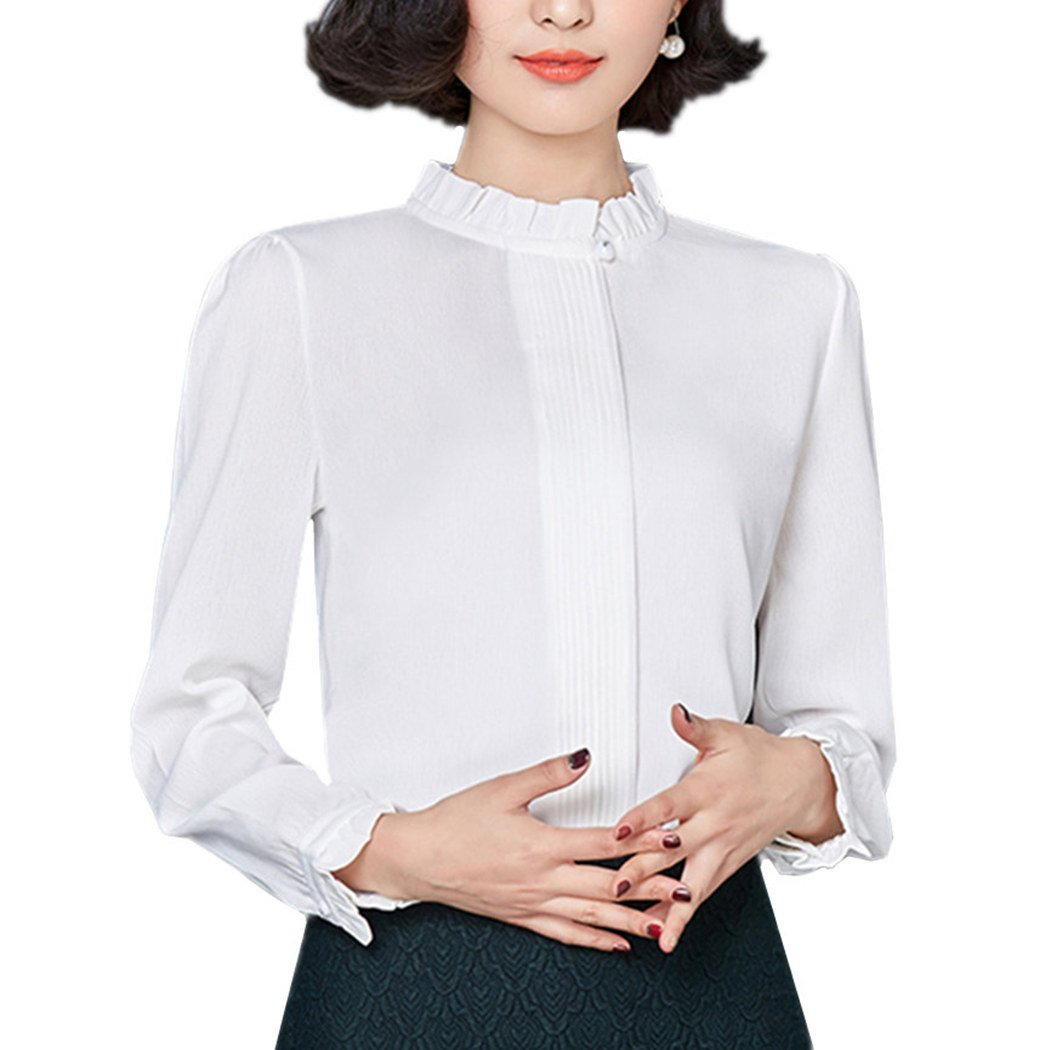 Edwardian Blouses | White & Black Lace Blouses & Sweaters NIXI Women Blouse Stand Collar Long Sleeve Spring Chiffon Shirt Tops Work Formal $22.99 AT vintagedancer.com