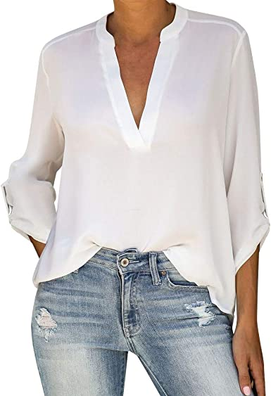 Amlaiworld Blusa de Gasa de Mujer Elegante, Casual Mujer Sexy Blusa de Manga Larga Roll Up Color sólido con Cuello en V Camisa túnica Camiseta Holgada Camisas Tops Blusas: Amazon.es: Ropa y