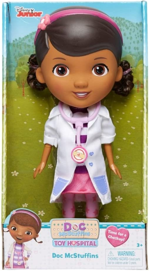 "Doc McStuffins Doll Doctor with Stethescope and White Coat Disney Jr Toy Hospital Time For a Checkup 9"" Toy"