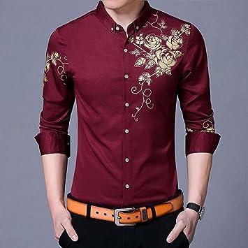 YAYLMKNA Camisa Camisa De Vestir para Hombre Camisas De Vestir Estampado De Flores Camisa con Botones Hombre Slim Fit Manga Larga, XXL: Amazon.es: Deportes y aire libre