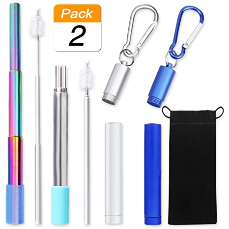 Uoobeetryy 2 Pack Straws Drinking Reusable Folding Stainless Steel Straw,  Rainbow Telescopic Portable Final Metal Straws with Silicone Tips, Case &