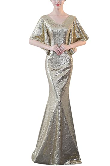 KAXIDY Ladies Sequins Formal Dresses Wedding Evening Dresses Beaded Womens Long Dress Evening Cocktail Gowns (