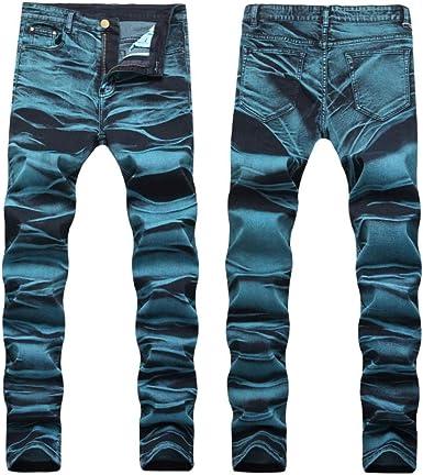 Loeay Jeans De Moda Para Hombre Pinturas Pantalones Elasticos Pantalones Estampados Para Hombres Talla Plsu 28 42 Ropa De Trabajo Informal De Ajuste Lavado Amazon Es Ropa Y Accesorios