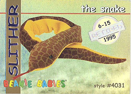 TY Beanie Babies BBOC Card - Series 1 Retired (SILVER) - SLITHER the Snake
