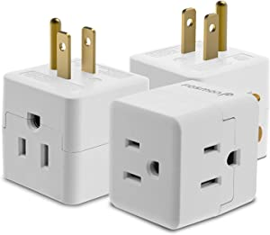 3 Outlet Wall Adapter Tap (3 Pack), Fosmon 3-Prong Portable Travel Mini Plug Grounded Indoor AC Outlet, ETL Listed - White