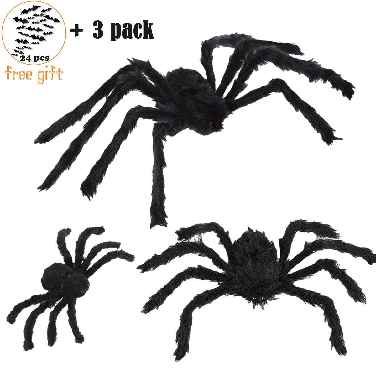 3 Pack Halloween Giant Spider Set, Large Fake Spider Realistic Hairy Spiders Halloween Indoor and Outdoor Yard Decoration, Creepy Black Spiders Comes With 24pcs Small Size Halloween Bat Kit for Gift
