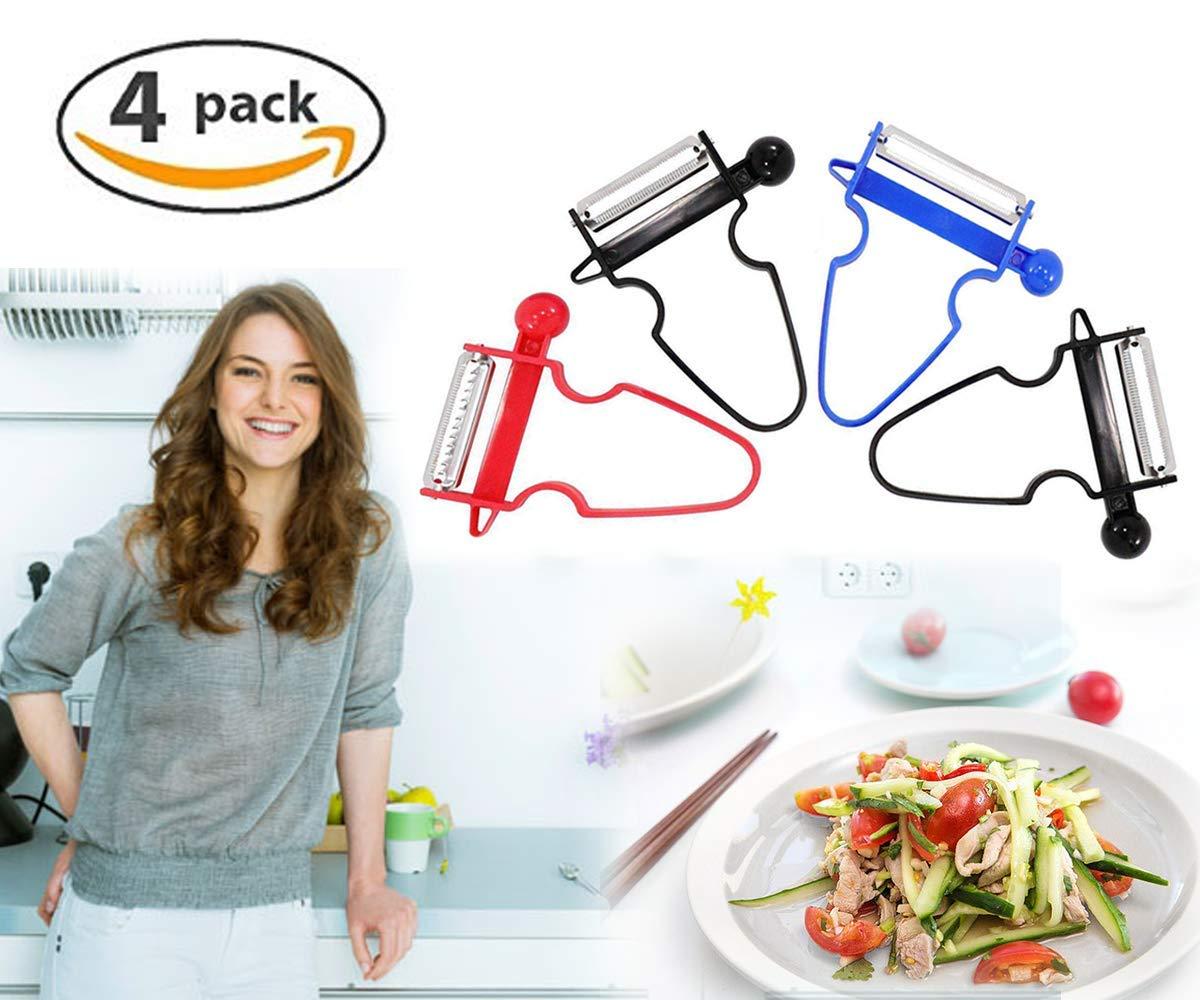 Upgraded Magic Trio Peeler (Set of 4), Vegetable Peeler, Stainless Steel Blades with Non-Slip Handles Peeler For Potato Fruit (4 Pack)
