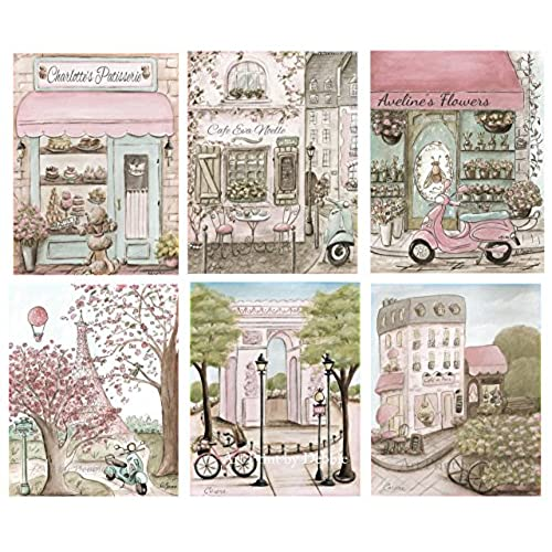 Paris Bedroom Decor Shabby Chic Nursery Prints Personalized Girls Room Art Set Of 6