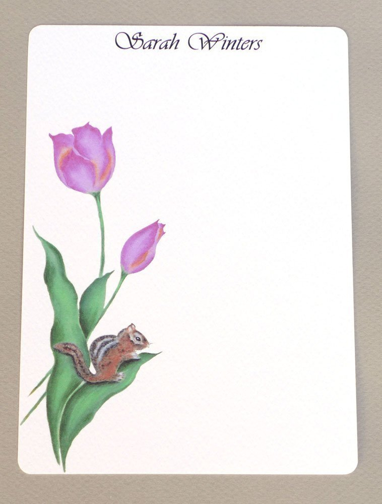 Chipmunk & Pink Tulips Personalized Girl's Flat Note Card Stationary Set With Envelopes, Women's Custom Monogrammed Stationery Kit, Thank You Notes