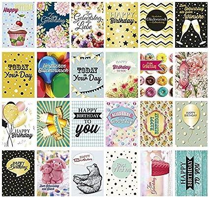 24 tarjetas postales de cumpleaños con motivos divertidos, DIN A6, 250 g/m², 24 diseños diferentes: Amazon.es: Oficina y papelería