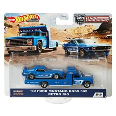 HOT WHEELS Premium CAR Culture Team Transport H 1/64 Scale 1969 Ford Mustang BOSS 302 Retro RIG Model Set #19: Toys & Games