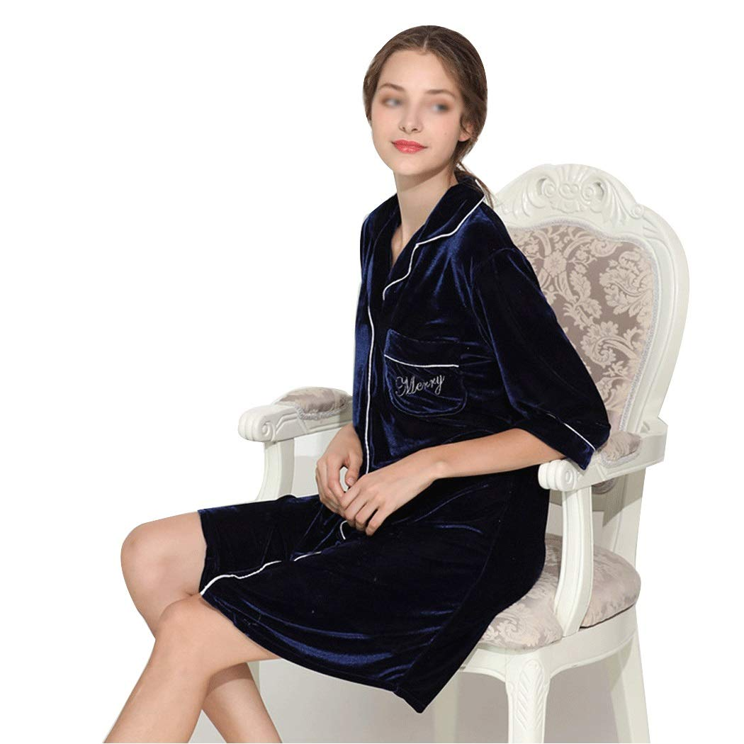 bluee GJFeng Autumn and Winter Suede Pajamas Women's Casual Embroidered Long Paragraph Can Be Worn Outside Pajamas Home Wear (color   RED, Size   L)