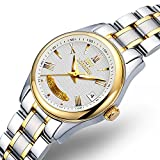 Swiss Brands Women's Skeleton Watch Automatic Mechanical Waterproof Silver Gold Two Tone Stainless Steel Ladies Watch (Gold Whie)