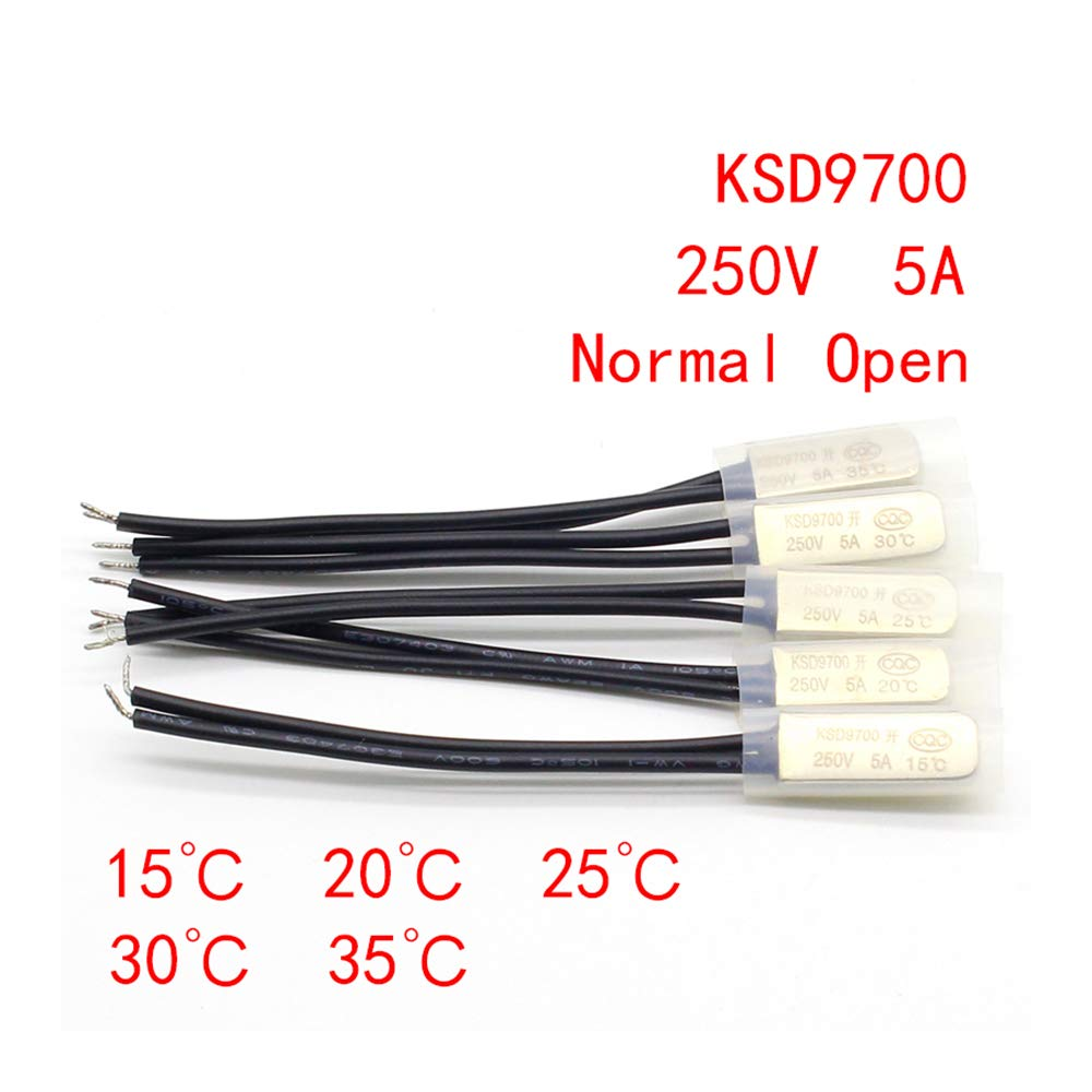1pcs KSD9700 250V 5A Bimetal Disc Temperature Switch N//O Thermostat Thermal Protector 15 20 25 30 35 degrees centigrade,30 Normal Open