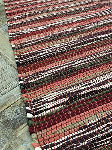 Dark Spicy Shades Red Stripe 60cm x 90cm Rag Rug - Hand Loomed in India by Second Nature - Shades Online Shopping