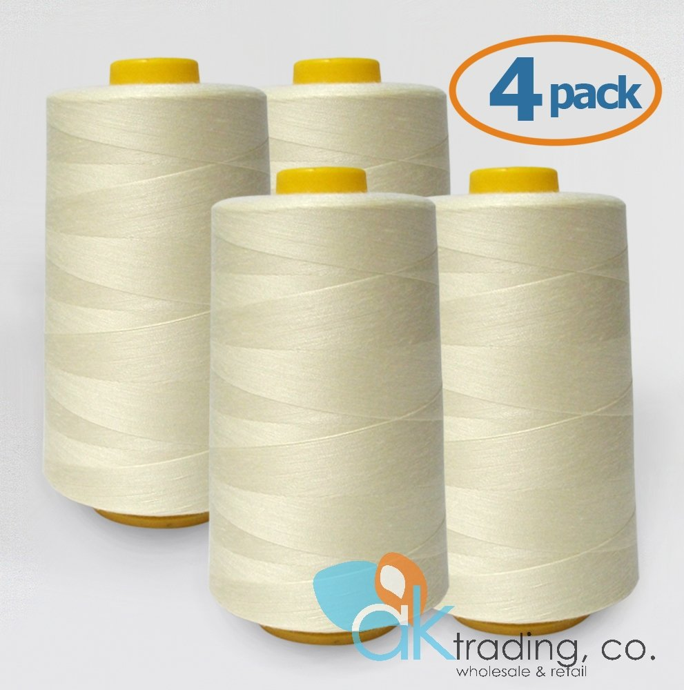 AK-Trading 4-Pack IVORY Serger Cone Thread (6000 yards each) of Polyester thread for Sewing, Quilting, Serger #701 AK TRADING CO.