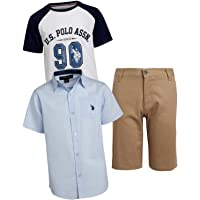 U.S. Polo Assn. Boys' 3-Piece Short Set with Collared Shirt and Fashion T-Shirt
