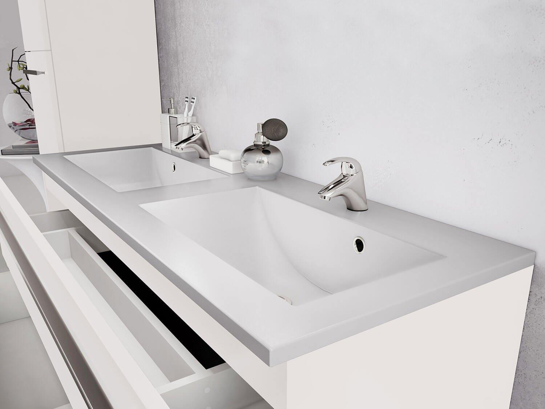 Waschtischunterschrank Waschbecken Unterschrank Weiss Hochglanz