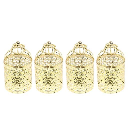 Conjunto de 4 Candelabros Dorados Decorativos Jaula de Metal ...