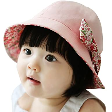 cad8fd10c0e CHIC-CHIC Newborn Baby Girls Sweet Princess Hat Flower Bowknot Bucket Style  Beach Summer Sun Hat Caps