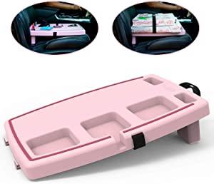 STUPID Car Anti-Slip Multi-Compartment Car Organizer & Food Tray with Cargo Straps & Hooks, Pink/Maroon