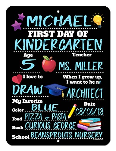 Honey Dew Gifts First Day of School HDG-1117 Photo Prop Chalkboard Style Tin Sign - 9 x 12 inch Reusable Easy Clean Back to School - USE Liquid Chalk Markers to Customize (NOT Included)
