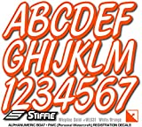 Stiffie Whipline Solid White/Orange 3'' Alpha-Numeric Registration Identification Numbers Stickers Decals for Boats & Personal Watercraft