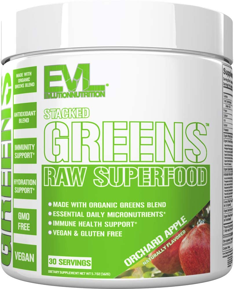 Evlution Nutrition Stacked Greens Raw Superfood, Vegan, Gluten-Free, Orchard Apple (30 Servings)