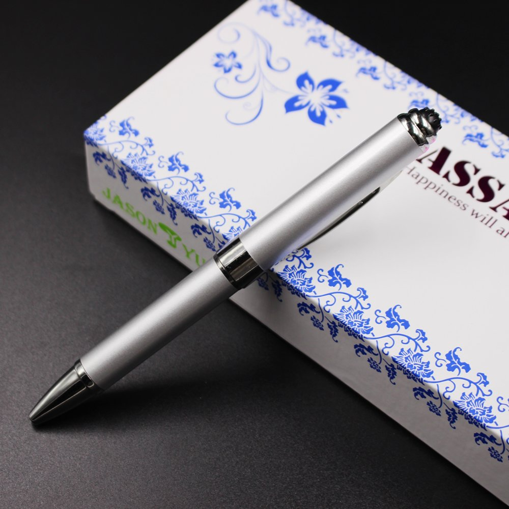 2 in 1 Vibration & massage ballpoint pen - mini Massage Tip Pen with Gift Box - Multifunction Electronic Pen (Silver) by JASON YUEN (Image #2)