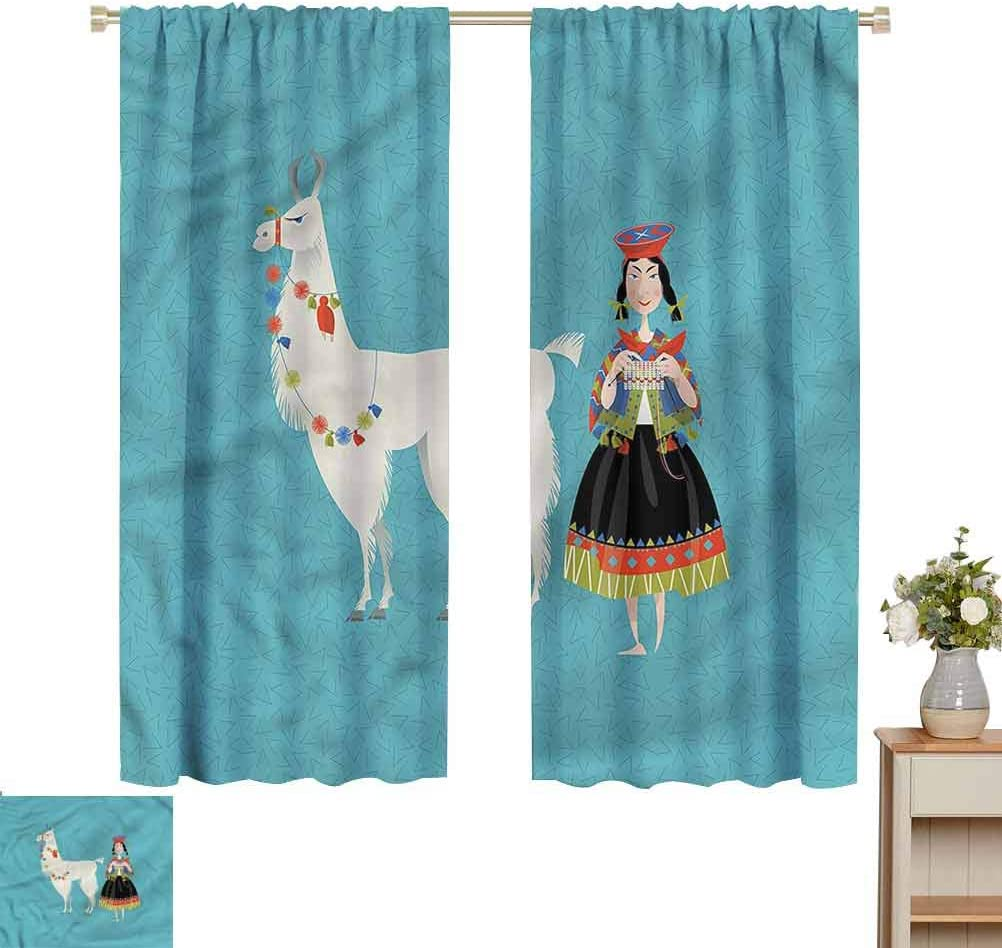 Llama Blackout Curtains in Living Room Kitchen Peruvian Knitting Woman Patio Door Curtain Panel Home Decoration W63 x L84 Beach Gifts for Women