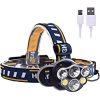Niome USB Rechargeable LED Headlamp Headlight, Waterproof 8 Modes Operation 6 Head Bright Torch for Camping,Cycling,Outdoor Safety